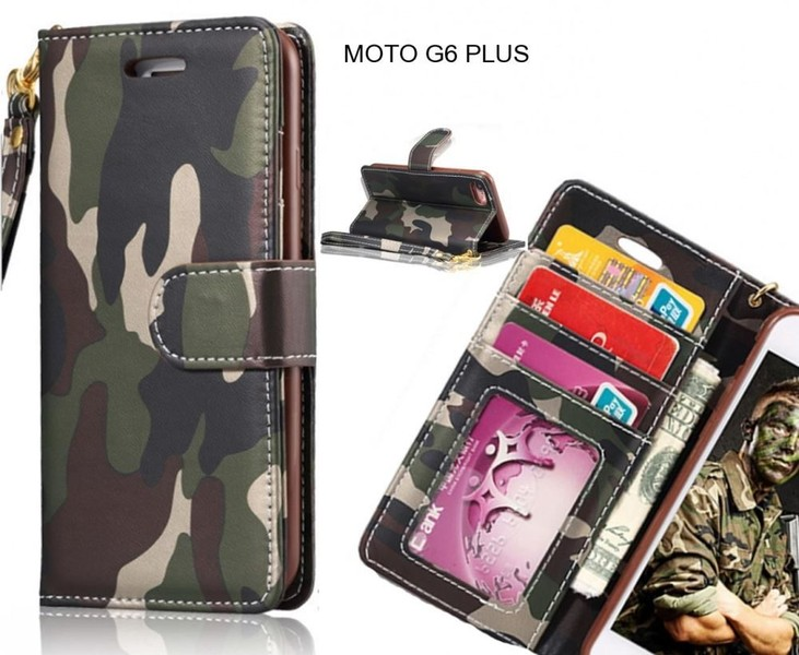 buy popular 98f9e 976d0 MOTO G6 PLUS case camouflage leather wallet case cover