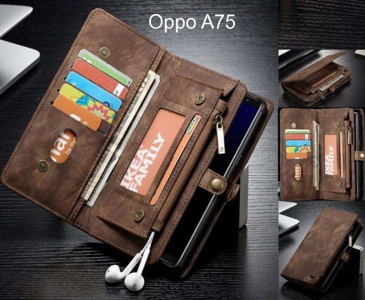 Oppo A75 case Retro leather multi cards cash pocket   zip  89a2d1014