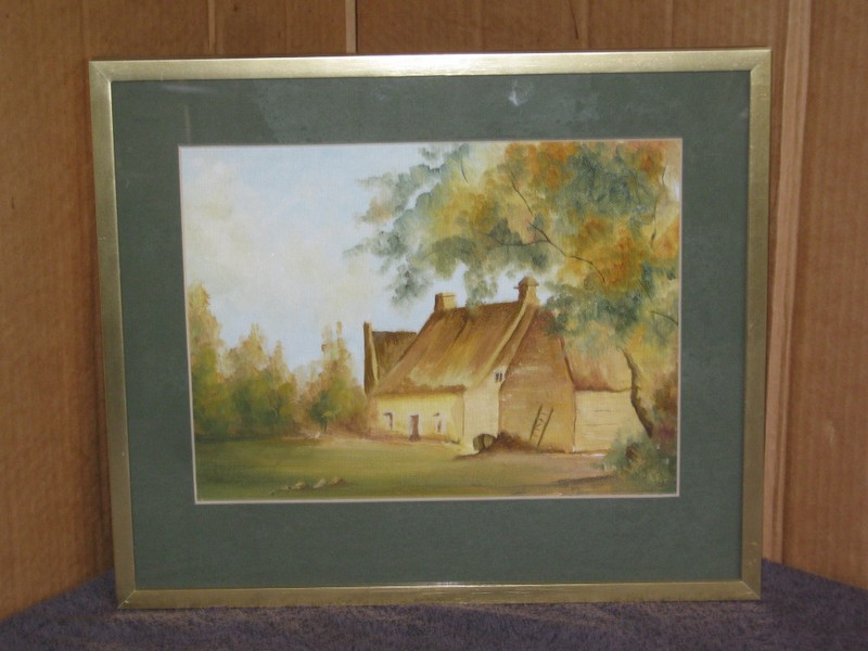 G Lee Old Thatched Cottage Painting original - oil ?