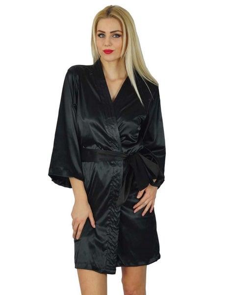 fe8fca3125 Bimba Women Short Satin Getting Ready Black Robe Bridesmaid Kimono Sleeve