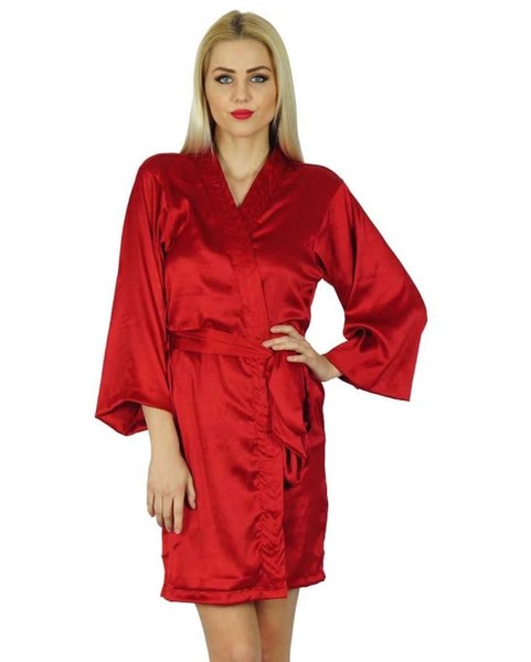 551ca20697 Bimba Women Short Satin Getting Ready Red Robe Bridesmaid Kimono Sleeve  Coverup