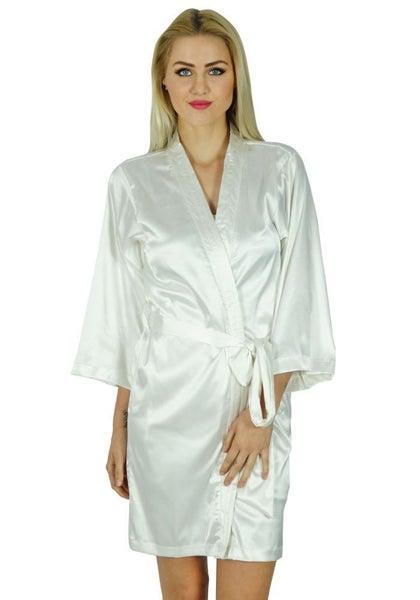 5829053461 Bimba Women Short Satin Getting Ready White Robe Bridesmaid Kimono Sleeve