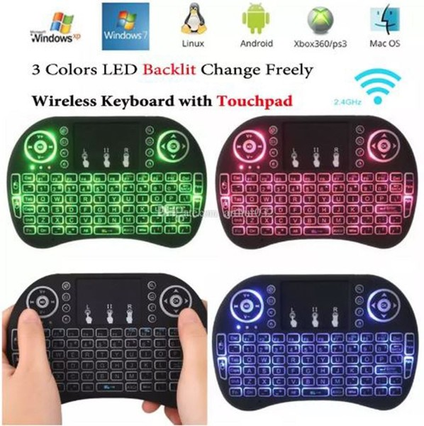 Wireless Mini Smart TV Keyboard - i8+ Mini Keyboard Colourful Backlight 2 4G