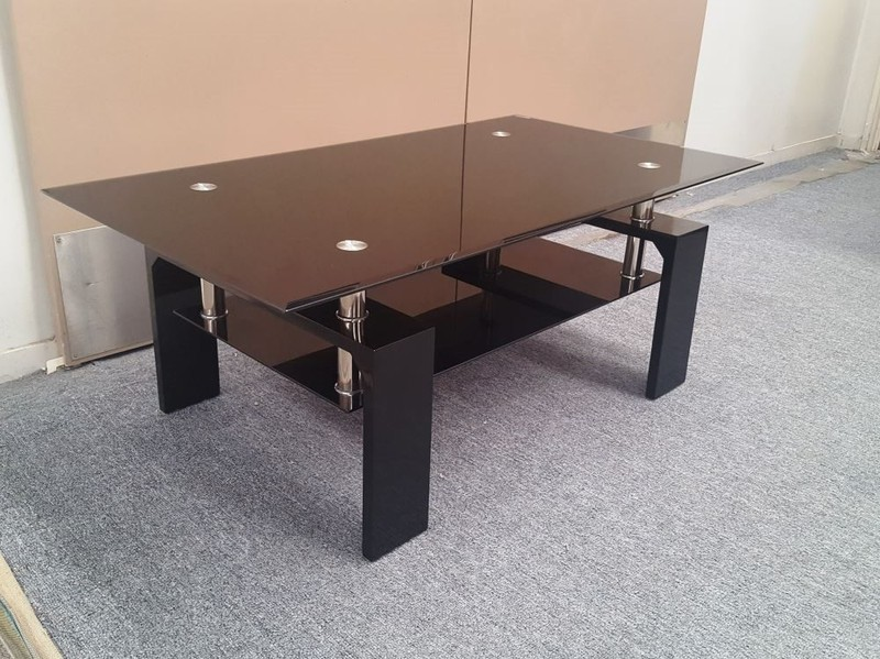 Glass Coffee Table Lily Black Tempered With Glossy Black Wide Legs