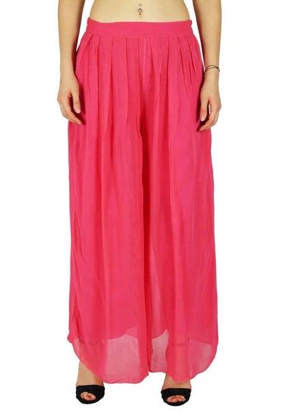 new concept 53d6e 2ef25 Bimba Women Long Flared Wide Leg Palazzo Pleated Skirt Style Pink Pants    Trade Me