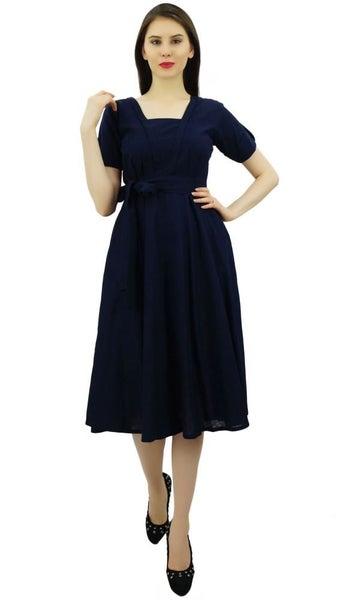 9a80d1c2018 Bimba Women Short Sleeve Navy Blue Linen Shift Dress with Belt Casual  Dresses