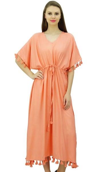 1b9a1a2a30 Bimba Women Designer Tassel Kaftan Dress Short Kimono Sleeve Long Maxi  Coverup | Trade Me