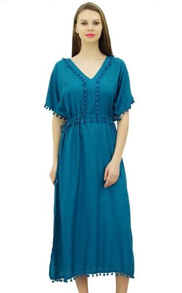 784a13cbd2 Bimba Women Designer Kaftan Dress With Pom Poms, Short Kimono Sleeve Long  Maxi | Trade Me