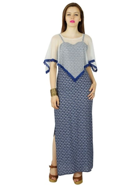 64412ef7152d Bimba Women Long Blue Maxi Dress With Net Poncho er Gown With Side Slit