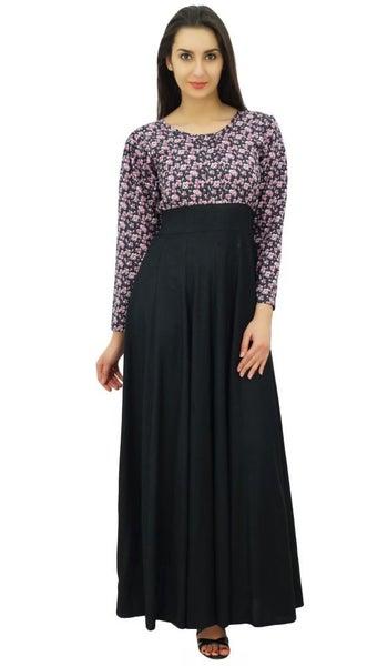 Bimba Womens Rayon Black Tie Waist Long Sleeve Casual Maxi Dress