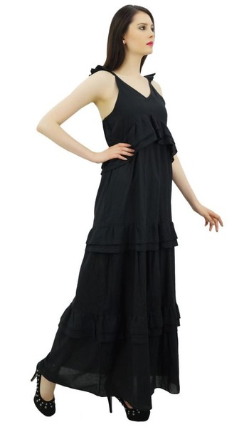108c133faac Bimba Sexy Summer Spaghetti Strap Sundress V-Neck Casual Ruffle Long Maxi  Dress