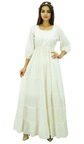 f788fc9cd Bimba Womens Summer Cotton Maxi Dress Drawstring Waist Tiered Pleated Boho  Dress | Trade Me