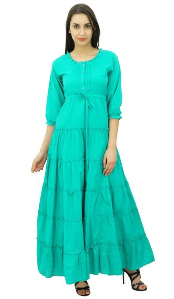 18676cf8a88 Bimba Womens Teal   Sleeve er Cotton Maxi Dress Drawstring Waist Tieredl