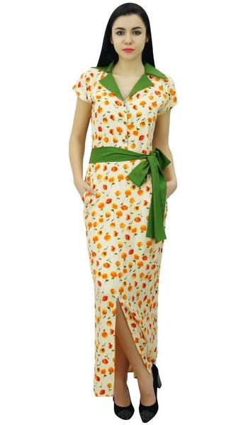 4707f2321bb0 Bimba Womens Long Floral Print Robe Dress With Collar Full Length ...