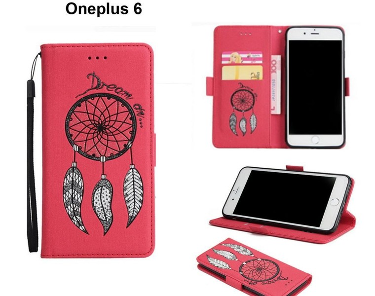 huge selection of 41823 f1871 Oneplus 6 case luxury glitter leather 3D dreamcatcher magnet red