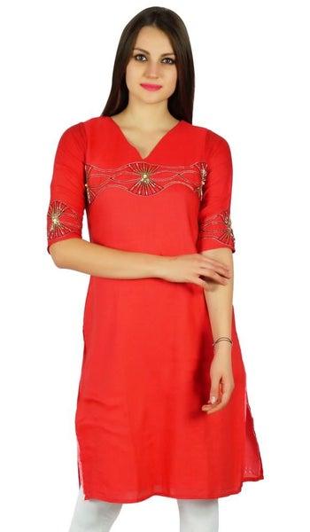 1b7e119ad8c036 Bimba Womens Hand Beaded Cotton Kurta 3 4 Sleeve Red Tunic Casual Summer