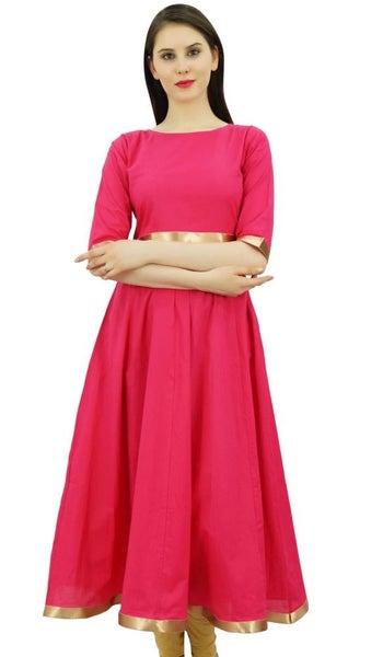 644c662255 Bimba Women Magenta Anarkali Kurta Golden Border Dress Indian Clothing  Ladies   Trade Me