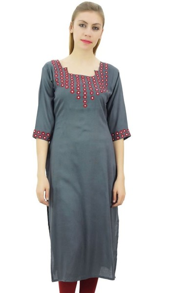 c8a7025e590 Bimba Women s Ethnic 3 4 sleeve Mirror Work Embroidered Gray Straight Kurta