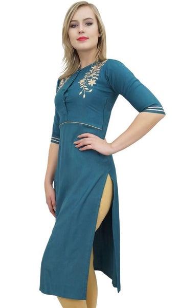 Bimba Women/'s Designer Rayon Kurti Blue Gota Patti Embroidered Tunic Kurta