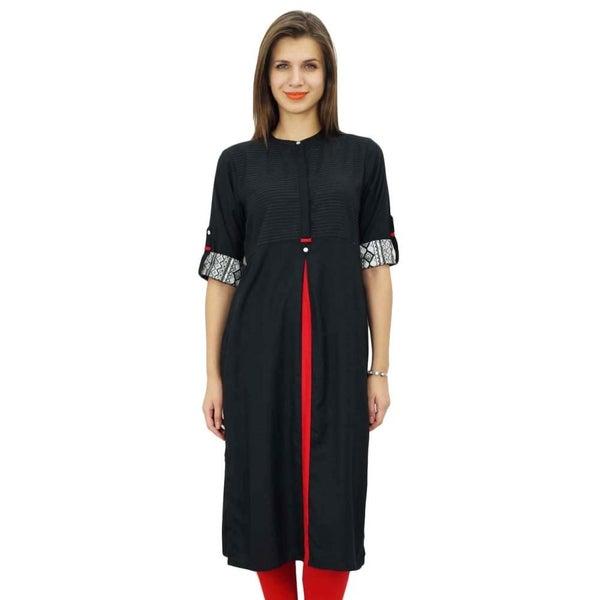 bebbf5ba8dd25b Bimba Womens Tunic Top 3/4 Sleeve Long Kurta Kurti Indian Ethnic Black  Blouse   Trade Me