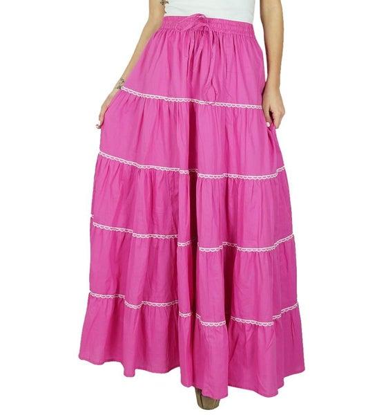 Bimba Women Pink Cotton Frill Skirt Long Flaired Elastic Waist Maxi Bottoms