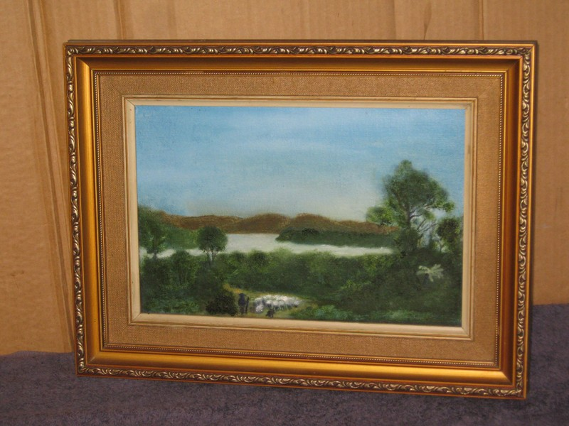 Somewhere Near Thames Shepherd Sheep Original Oil Painting