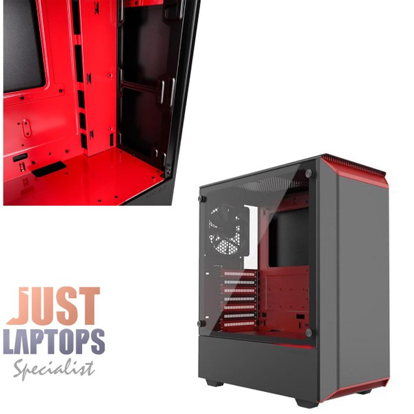 Phanteks Eclipse P300 Mid Tower Case with Tempered Glass ,Black/Red