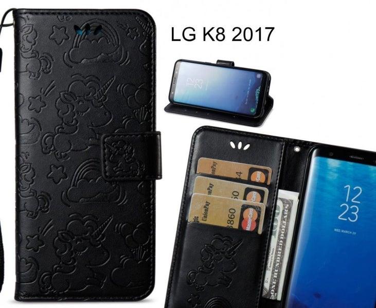 more photos 05b44 d49c2 LG K8 2017 Case Wallet Leather Unicorn Case
