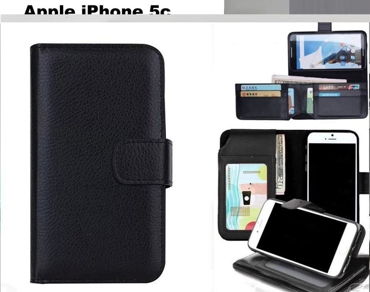 new product 9eeec 6f7c2 Iphone 5c leather wallet case folded 7 cards ID black