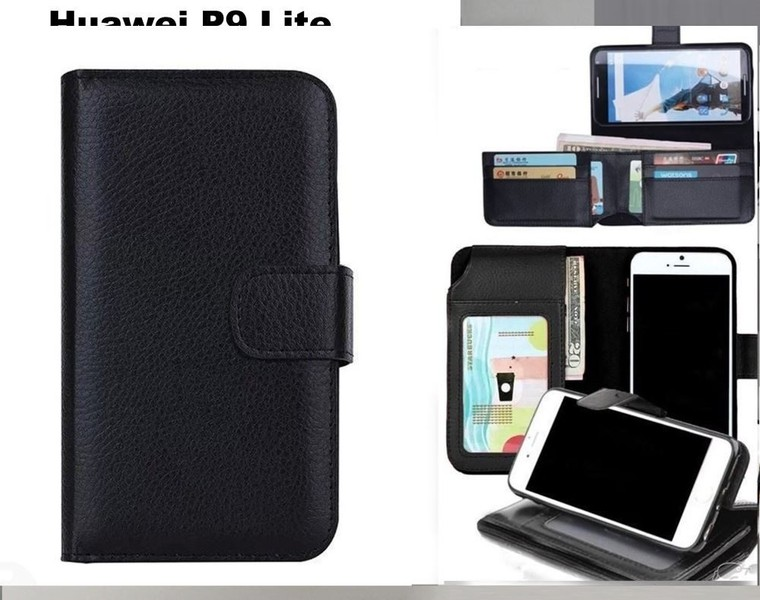 the latest d3a2a 4566e Huawei p9 lite leather wallet case folded 7 cards ID black