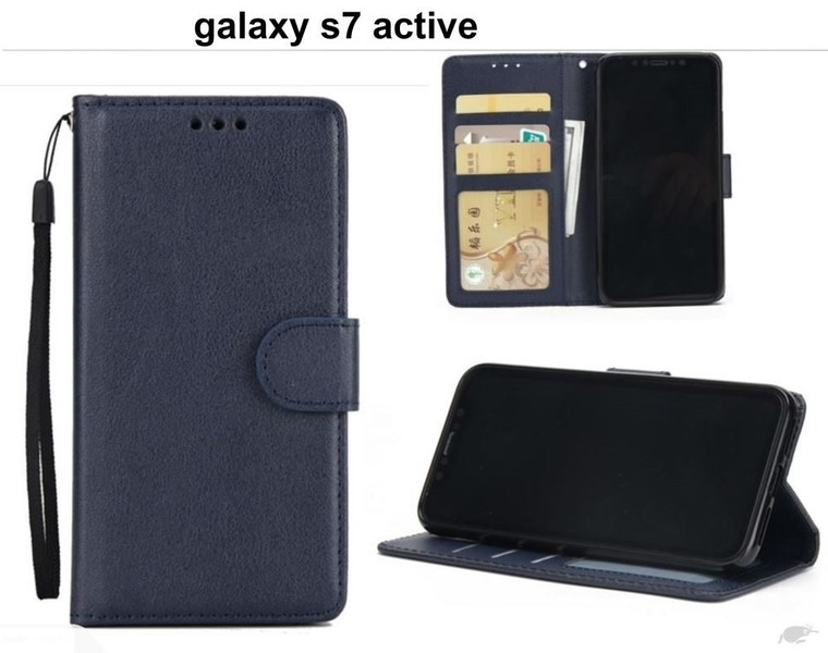 big sale a907f 79dfa galaxy s7 active premium PU leather wallet case w 3 card slots & pocket nvy