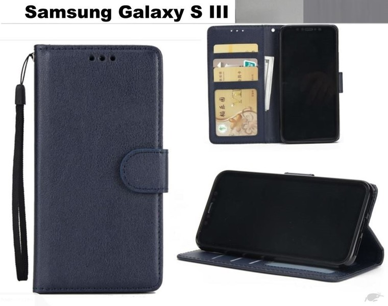 the latest a446e fbda5 Galaxy S3 premium PU leather wallet case w 3 card slots & pocket nvy