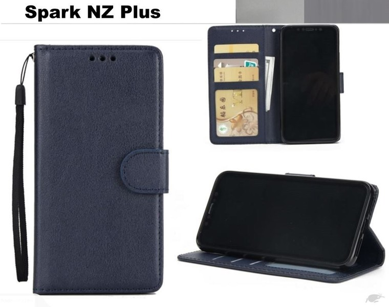 the latest f613f dc044 Spark NZ Plus premium PU leather wallet case w 3 card slots & pocket nvy