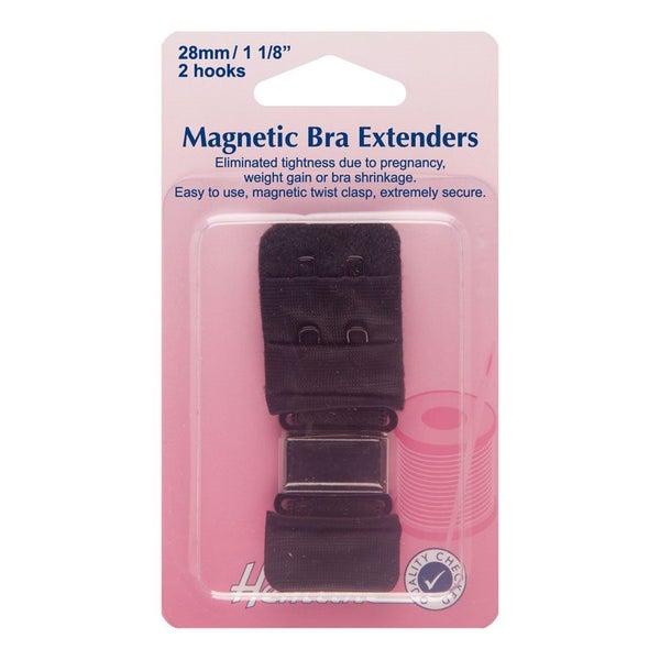 d1595415c5 Hemline H777.28.B Black 2 Rows 2 Hooks Magnetic Bra Back Extender 28mm  (1.1in)