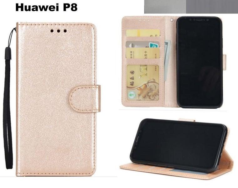 cheaper f3b3c 410a3 Huawei p8 premium PU leather wallet case w 3 card slots & pocket gld
