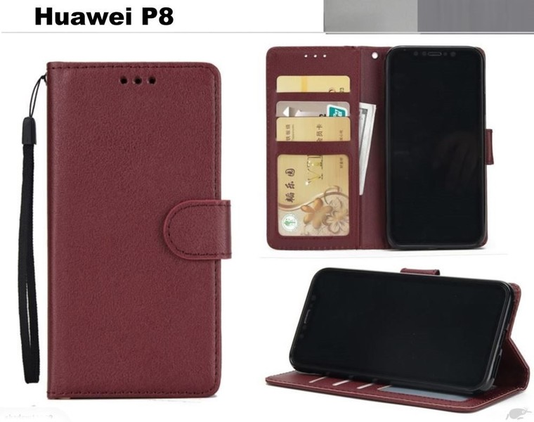 newest 85640 9086a Huawei p8 premium PU leather wallet case w 3 card slots & pocket wn