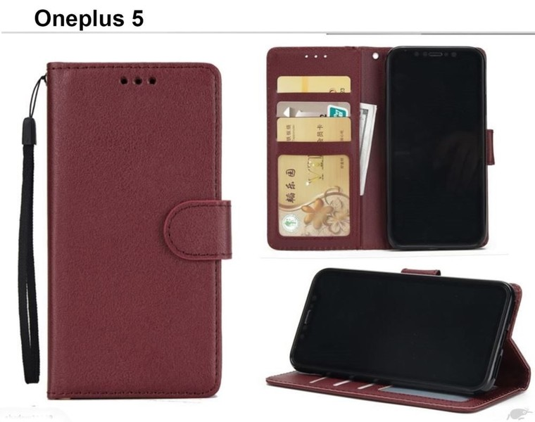 uk availability c6f72 ab1f3 oneplus 5 premium PU leather wallet case w 3 card slots & pocket wn