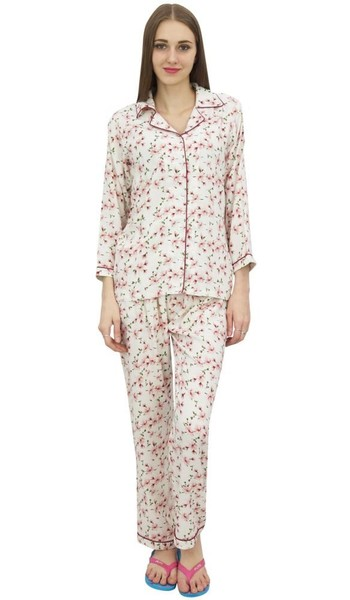 6fe9e28833 Bimba Off-White Printed Shirt With Elastic Waist Pajama Pant Night Wear Set
