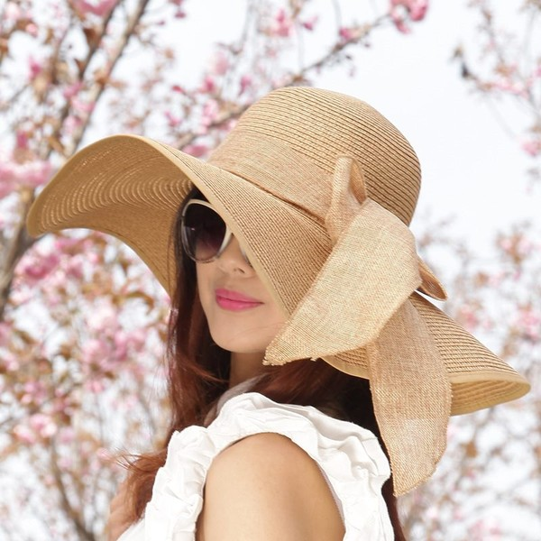 04caa554e3d Summer Women Ladies Foldable Wide Large Brim Floppy Beach Hat Sun Straw Hat  Cap