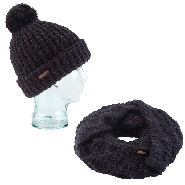 Coal Kate Beanie Waffle Knit And Madison Scarf Eternity Open Knit Heather  Black  628bc9f8c85