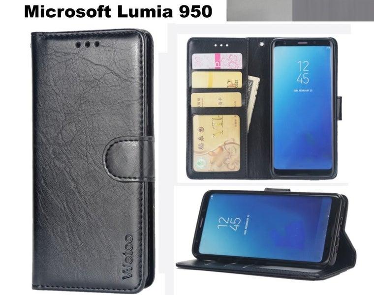 best sneakers 4dd21 ea2a8 Microsoft Lumia 950 case premium PU leather gel inner card slots blk