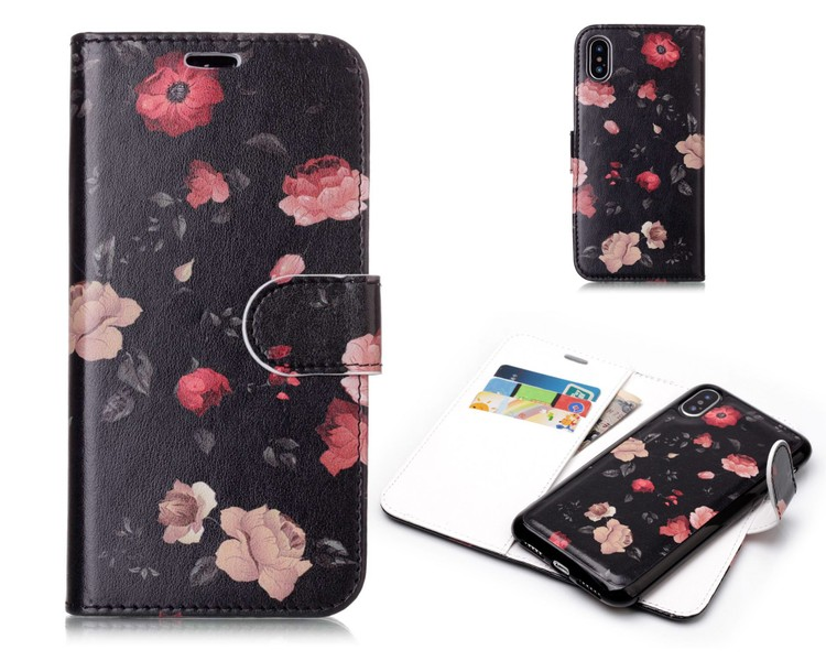 innovative design ff7ab 20889 iphone X case wallet leather magnetic detachable 2 in 1 rose