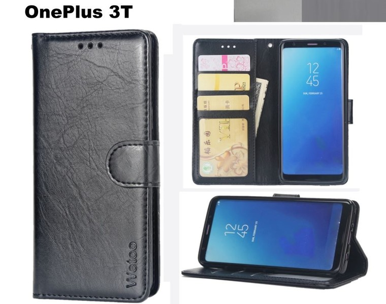 low priced b48f6 a0aef OnePlus 3T case premium PU leather gel inner card slots blk