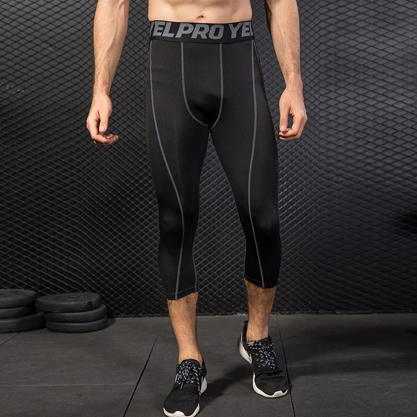 40a9ae209d693b Men 3/4 Compression Running Tights Sport Yoga Jogging Pants Fitness Gym  Leggings | Trade Me