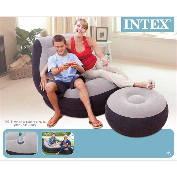 Intex Inflatable Relaxing Single Air Sofa Couch Chair Foot Rest