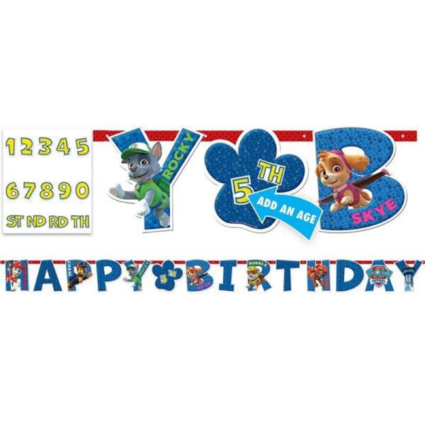Paw Patrol Happy Birthday Banner Official Licensed