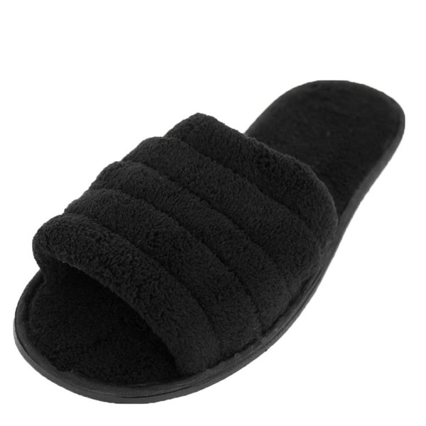 bac2b8bf48001 Mens Open Toe Terry Slippers Black