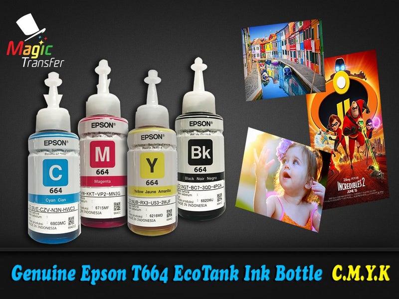 Genuine Epson T664 EcoTank Ink Bottle - Price for all 4 bottles,C,M,Y,K  colors