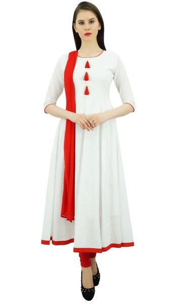 Atasi Women\u0027s Designer Anarkali White Salwar Suit Ethnic Indian Cotton Dress