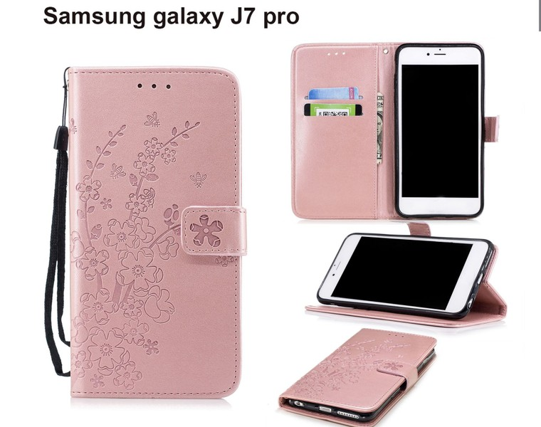 Galaxy J7 Pro Case Embossed Pu Leather Wallet Floral Blossom Rose Gold